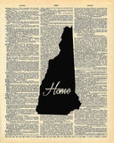 New Hampshire State Vintage Map Vintage Dictionary Print