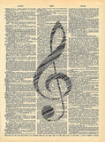 Musical Note - Vintage Dictionary Art Print