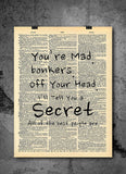 Alice in Wonderland Vintage Dictionary Wall Art Print - You're Mad Bonkers Quote