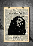Bob Marley Quotes - Love the Life You Live -  Home Decor Inspirational Quotes - Vintage Dictionary Art Prints For Wall
