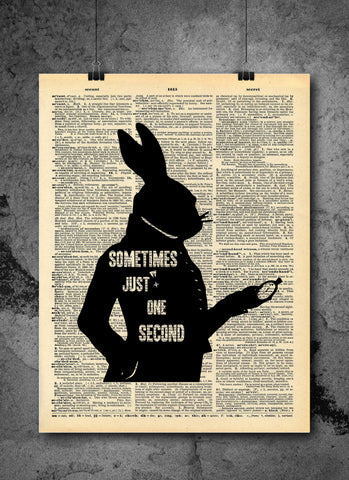 White Rabbit Alice in Wonderland Quote Art - Inspirational Vintage Wall Art - Upcycled Dictionary Page Print 8x10 Print