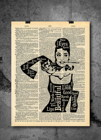 Audrey Hepburn | Beauty Quote - Vintage Dictionary Wall Art Print - Eyes, poise, lips, and vintage Active