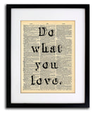 Do What You Love Quote Dictionary Art Print - Vintage Dictionary Print - Wall Art