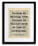 Winston Churchill Success Quote Vintage Art - Authentic Upcycled Dictionary Art Print - Wall Art