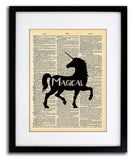 Unicorn Magical Art - Local Vintage Upcycled Dictionary Wall Art Print - Unicorn Wall Art