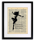 Wonder Woman Art Quotes Vintage Dictionary Wall Art Print - Confident Beautiful Strong Wall Art