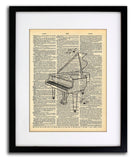 Piano Sketch Musical Instrument - Art Vintage Dictionary Wall Art Print - Piano Wall Art