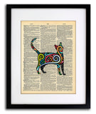 Psychedelic Cat Space Kitten - Cat Collection - Vintage Dictionary Print