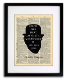 Charlie Chaplin Just Smile Quote Vintage Art - Authentic Upcycled Dictionary Art Print