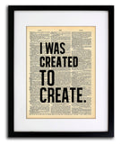 Created To Create Quote Dictionary Art Print - Vintage Dictionary Print