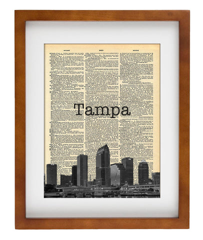 Tampa FL Skyline - Art Vintage Dictionary Wall Art Print - Florida ...
