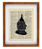 Wizard of Oz Tinman Art - Heart Loved By Others Quote - Vintage Dictionary Art Print