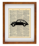 Punch Bug Black - Art Vintage Dictionary Wall Art Print - Classic Car Wall Art
