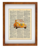 Punch Bug Yellow - Art Vintage Dictionary Wall Art Print - Classic Car Wall Art