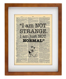 Salvador Dali Quote - I am Not Strange I Am Just Not Normal - Vintage Dictionary Print