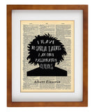 Albert Einstein | Passionately Curious Quote - Vintage Dictionary Wall Art Print - No Special Talents