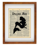 Little Mermaid Silhouette Art - Dream Big Quote- Art Quotes Vintage Dictionary Wall Art Print - Disney Wall Art