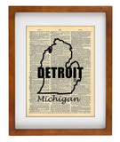 Detroit Michigan State Art Vintage Dictionary Wall Art Print - Michigan Detroit Wall Art