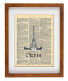 Eiffel Tower Paris France Travel- Art Vintage Dictionary Wall Art Print - Paris France Wall Art