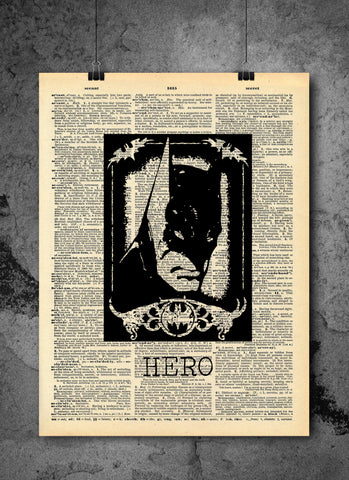 Batman Art Quotes Vintage Dictionary Wall Art Print - Hero Wall Art