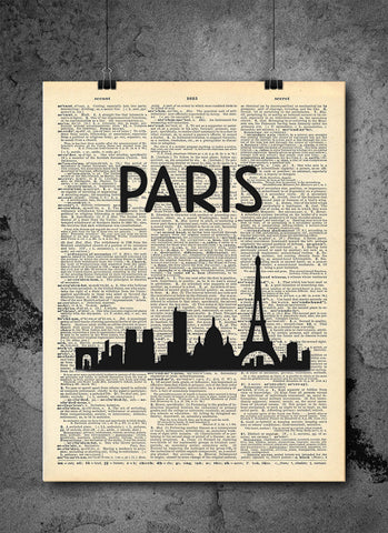 Paris France City Skyline Vintage Dictionary Art Print - French Wall Art