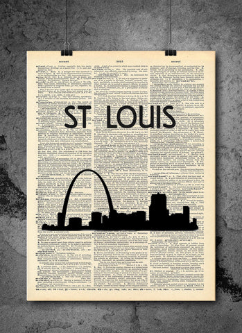 St Louis Arch City Skyline Art Vintage Dictionary Wall Art Print - St Louis Wall Art