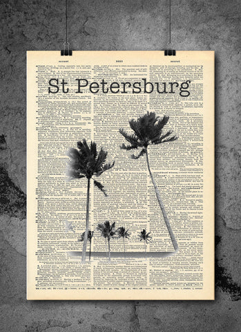 St Petersburg Florida Palm Trees - Art Vintage Dictionary Wall Art Print - Florida Wall Art