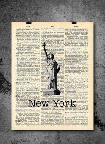 Statue Of Liberty New York City - Art Vintage Dictionary Wall Art Print - New York Wall Art
