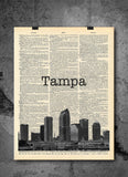 Tampa FL Skyline - Art Vintage Dictionary Wall Art Print - Florida Wall Art
