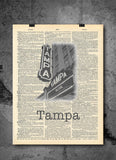 Tampa Theatre Florida - Art Vintage Dictionary Wall Art Print - Florida Wall Art