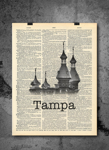 Tampa Minarets Hotel - Art Vintage Dictionary Wall Art Print - Florida Wall Art