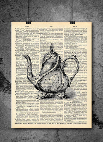 Black Old Tea Kettle Pot - Art Vintage Dictionary Wall Art Print - Teapot Wall Art