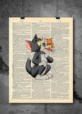 Tom & Jerry Cartoon Old School Happy Vintage Dictionary - Cartoon Art Print