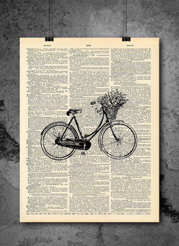 Vintage Flower Bicycle - Art Vintage Dictionary Wall Art Print - Bicycle Wall Art