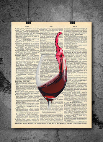 Red Wine Glass - Art Vintage Dictionary Wall Art Print - Wine Wall Art