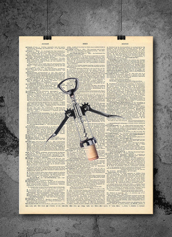 Wine Cork Screw - Art Vintage Dictionary Wall Art Print - Wine Wall Art