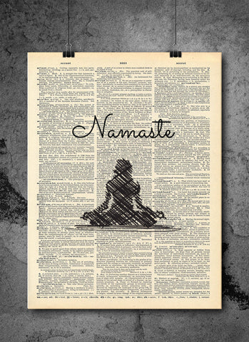Yoga Namaste Pose Meditation - Art Vintage Dictionary Wall Art Print - Yoga Art Print