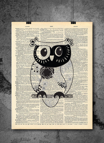 Sketch Owl Detailed - Art Vintage Dictionary Wall Art Print - Owl Wall Art