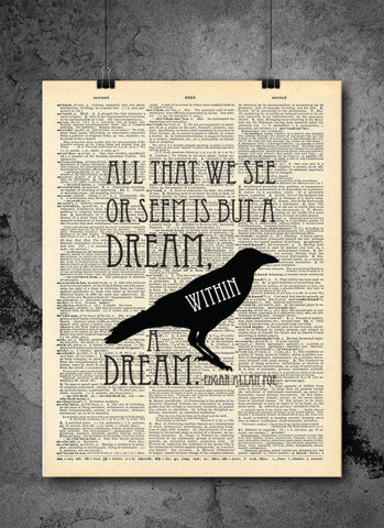 Edgar Allan Poe - Dream within a Dream Quote Vintage Dictionary Art Print
