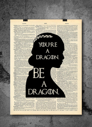 Game of Thrones Art - Khaleesi Dragon Quote - Vintage Dictionary Print