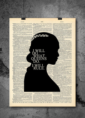 Game of Thrones Art - Khaleesi Queen Rule Quote - Vintage Dictionary Print