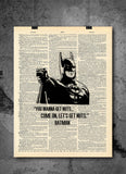 Batman You Wanna Get Nuts Come On Let's Get Nuts Art Quotes Vintage Dictionary Wall Art Print - Superhero Wall Art