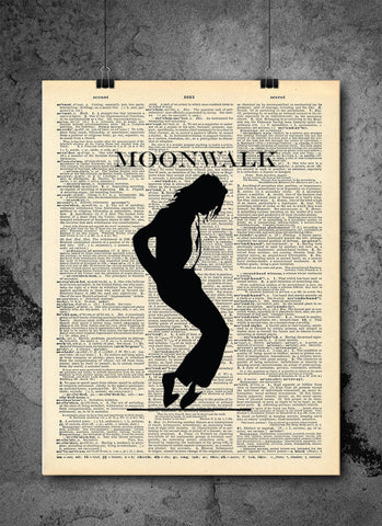 Michael Jackson Vintage Art - Moonwalk- Art Quotes Vintage Dictionary Wall Art Print - Celebrity Wall Art
