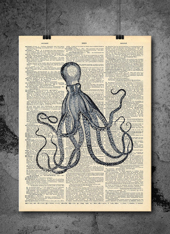 Octopus Sea Creature Vintage Dictionary Print - Art Vintage Dictionary Wall Art Print - Octopus Wall Art