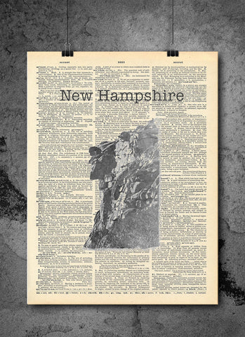 Old Man on the Mountain New Hampshire- Art Vintage Dictionary Wall Art Print - New Hampshire Wall Art