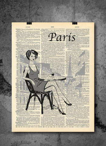 Paris France Art Vintage Dictionary Wall Art Print - French Woman Paris European Wall Art