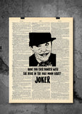 Batman Joker Have You Ever Danced With The Devil - Art Quotes Vintage Dictionary Wall Art Print - Superhero Wall Art