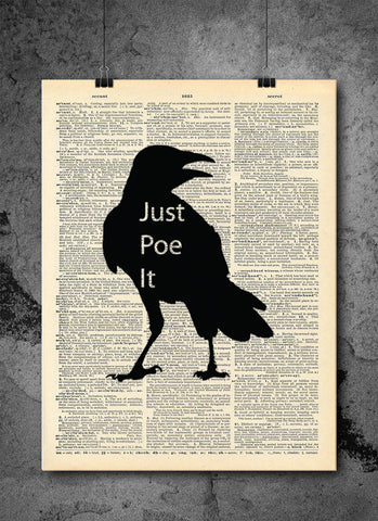 Edgar Allan Poe - Just Poe It - Art Vintage Dictionary Wall Art Print - Artist Quote Wall Art