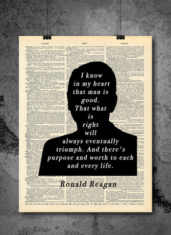 Ronald Reagan - Purpose In Life - Art Vintage Dictionary Wall Art Print - Famous Quote Wall Art