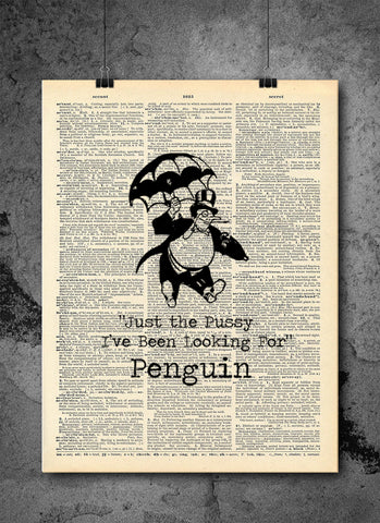 Batman Mr Penguin I've Been Looking For You - Art Quotes Vintage Dictionary Wall Art Print - Superhero Wall Art